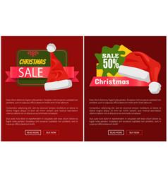 Xmas sale santa claus hats on promo labels vector