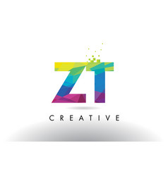 Zt z t colorful letter origami triangles design vector
