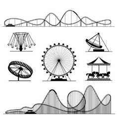 Amusement ride or luna park roller coasters vector image vector image