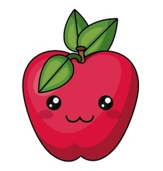 apple with kawaii face design vector image vector image