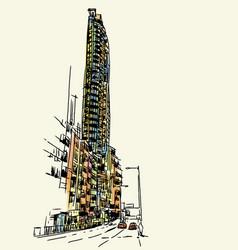 buildings sketchbook at hong kong vector image vector image