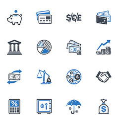 Finance Icons - Blue Series vector image vector image