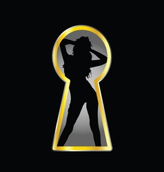 girl pose and keyhole vector image vector image