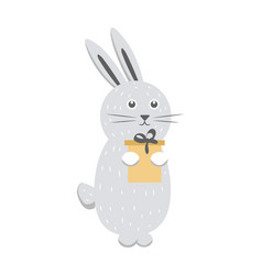 gray rabbit with gift box isolated on white vector image vector image