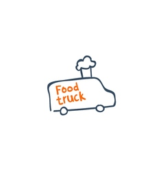 Street van with fast food logo design vector image vector image