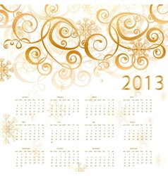 2013 red calendar whith gold vector image