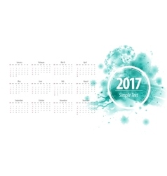 Calendar 2017 week starts from sunday blue vector image