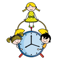 Children with an alarm clock vector image vector image