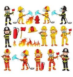 Firemen and equipments set vector image