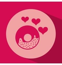 heart red cartoon donut icon design vector image