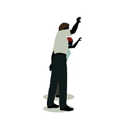 Man and woman silhouette in animations waving vector
