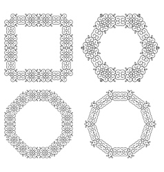 Set of decorative frames and borders Mono line vector image