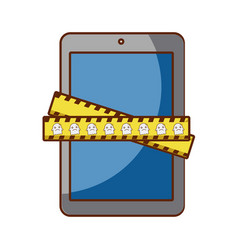tablet device with measure tape vector image vector image