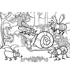 cartoon insects for coloring book vector image vector image