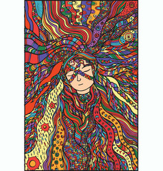 fantasy girl hair color vector image vector image