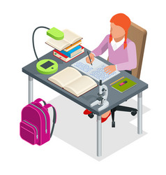 isometric young people and student concept a girl vector image