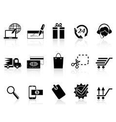 black e-commerce and shopping icon vector image