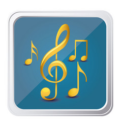 Button of sets musical notes in yellow with vector
