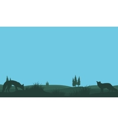 Fox in fields silhouettes vector image vector image