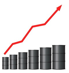 Oil barrels with red arrow vector image vector image