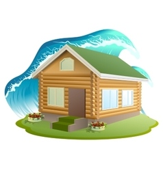 Property insurance Wooden house was flooded with vector image