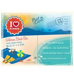 Summer postcard background vector image