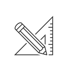 triangle ruler and pencil vector image