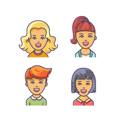 women avatar icon with different haircuts vector image vector image