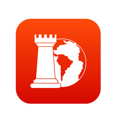 world planet and chess rook icon digital red vector image vector image