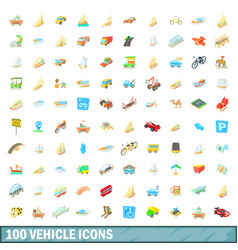 100 vehicle icons set cartoon style vector image