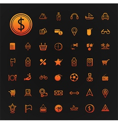 46 icons shopping and Travel set vector image