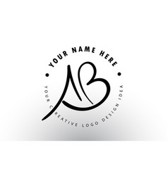 Ab handwritten letters logo design with circular vector
