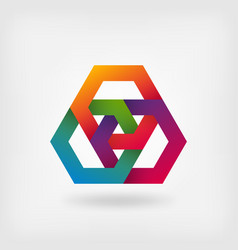 abstract interlocking hexagons in rainbow colors vector image