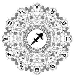 Adult coloring book mandala zodiac sagittarius vector