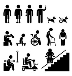 amputee handicap disable man tool equipment stick vector image