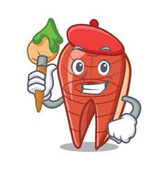 Artist fish slice character cartoon vector