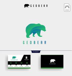 bear tech geometric logo template and business vector image