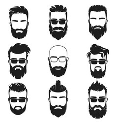 Bearded stylish hipster men faces with different vector