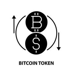 Bitcoin token icon black sign with vector