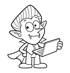 Black and white dracula mascot is holding a vector