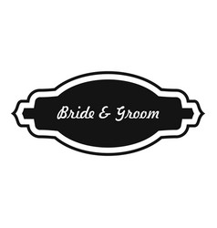 Bride and groom label icon simple style vector