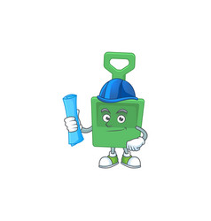 Brilliant architect green sand bucket mascot vector