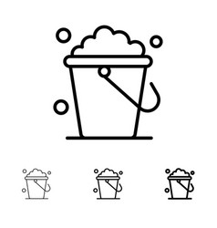 Bucket cleaning floor home bold and thin black vector