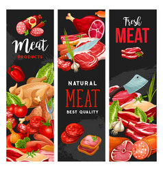 Butcher shop meat butchery products vector