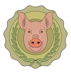 Butchery eco logo Pig in laurel wreath Color vector image