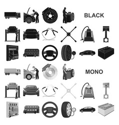 Car lift pump and other equipment black icons in vector