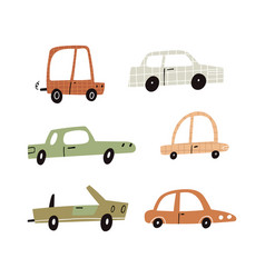 cartoon retro motor cars collection isolated vector image