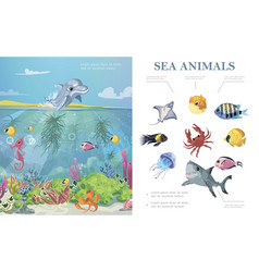 cartoon sea life colorful concept vector image