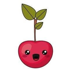 Cherry with kawaii face design vector image