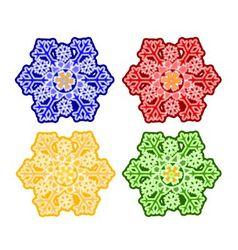 Christmas trimmings snowflake faience vintage vector